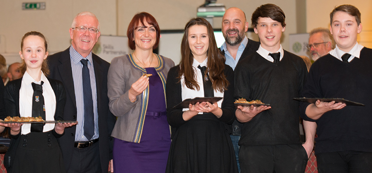 Angela Constance MSP with Tom Lewis from the Mhor Group and young people from McLaren High School in Callander.