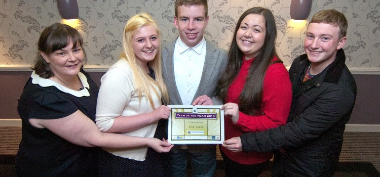 Arrochar YOUTH accepting their award at the 2013 Gathering event .